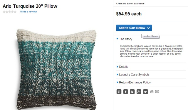 Crate and Barrel Arlo Turquoise Cushion