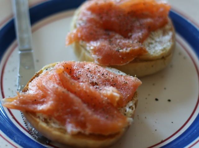 Bagel, cream cheese, smoked salmon, freshly ground pepper