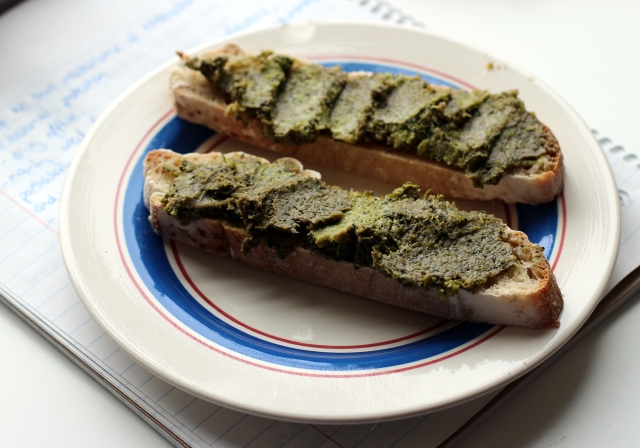 Broccoli pesto on sourdough.
