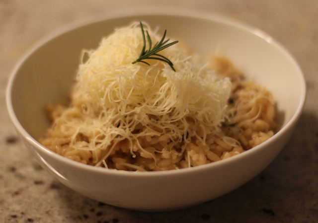Mushroom and Rosemary Risotto (with cheese on top)