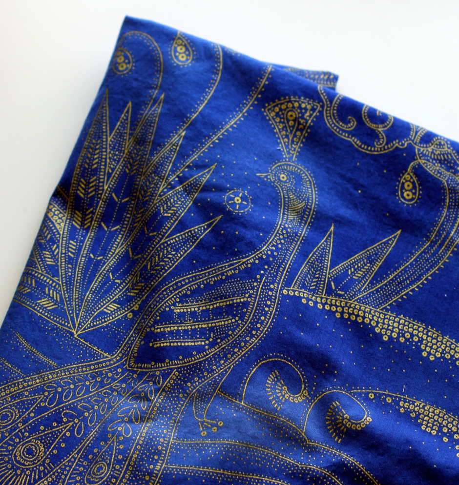Timeless Treasures Lux Peacock