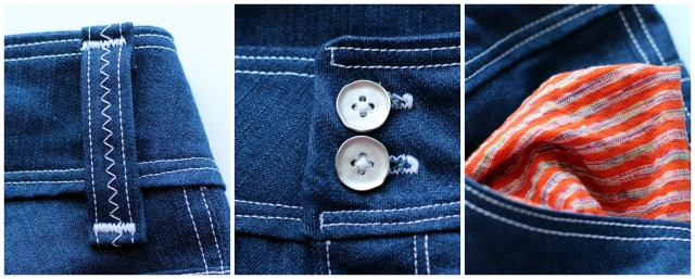 Slender Bell Jean Waistband and Pocket Detail