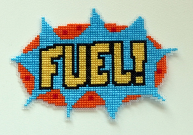 Fuel! Cross stitch on plastic canvas