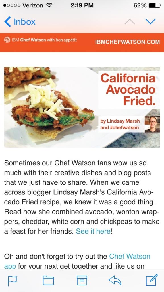 IBM Chef Watson Email