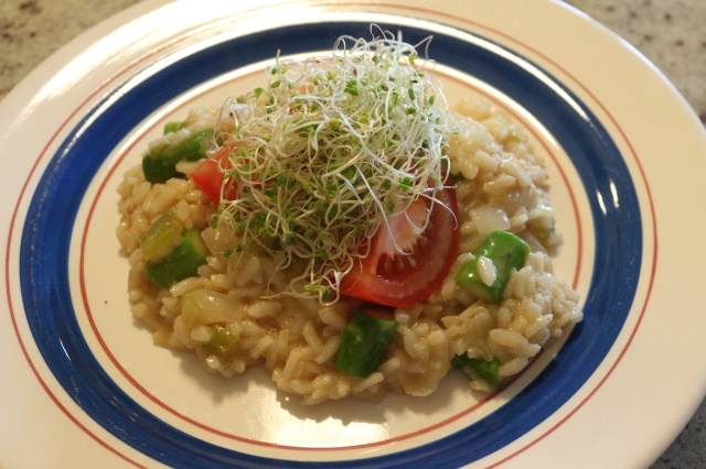 Smoky Spicy Cheddar and Asparagus Risotto