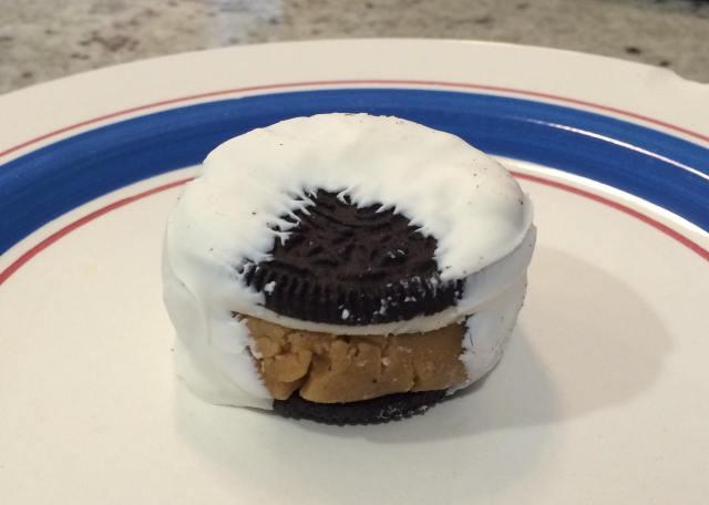 White Chocolate Dipped Cookie Dough Stuffed Oreo