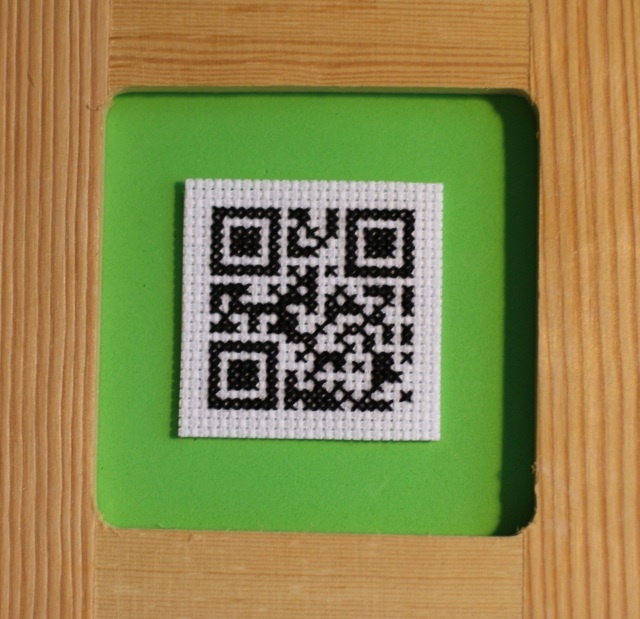 QR Code Cross Stitch: Mounted